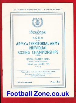 Army Territorial Boxing Championships Royal Albert Hall 1938