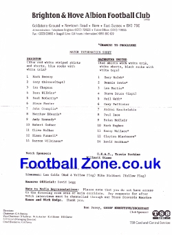 Brighton Hove Albion v Man Utd 1992 - David Beckham Team Sheet