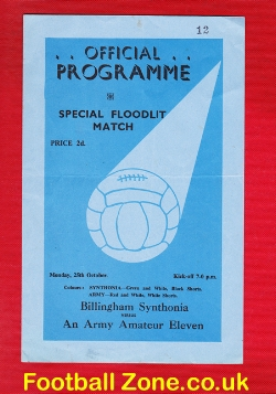 Billingham Synthonia v Army Amateur X1 1954 - Special Floodlight