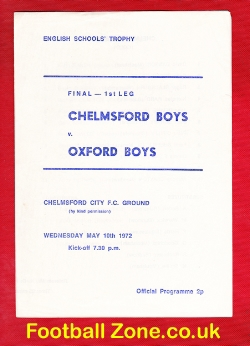 Chelmsford Boys v Oxford Boys 1972 - Schoolboys Cup Final