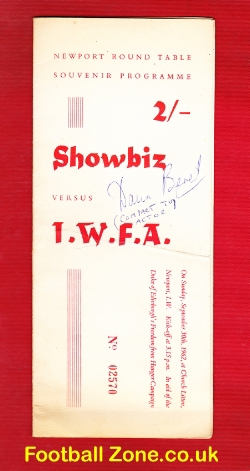 Isle Of White FA v Showbiz 1960s - Sean Connery + Signed