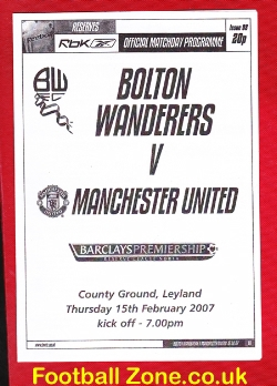 Bolton Wanderers v Man Utd 2007 - Reserves Match Plus Ticket