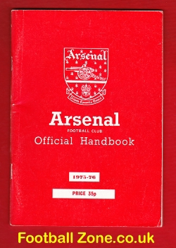 Arsenal Football Club Official Yearbook Handbook 1975 - 1976
