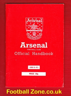 Arsenal Football Club Official Yearbook Handbook 1974 - 1975