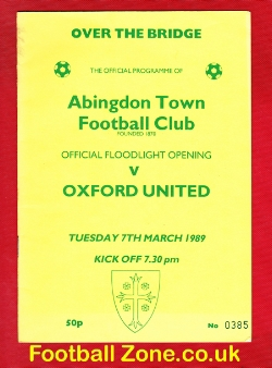 Abingdon Town v Oxford United 1989 - Opening of New Floodlights