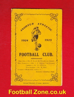 Andover Athletic Football Club Match Fixtures List 1924 - 1925