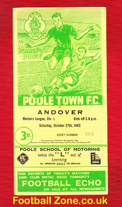 Poole Town v Andover 1962 - Western League