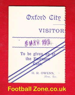 Oxford City Football Club Ticket 1934
