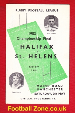 Halifax Rugby v St Helens 1953 - Manchester Championship Final