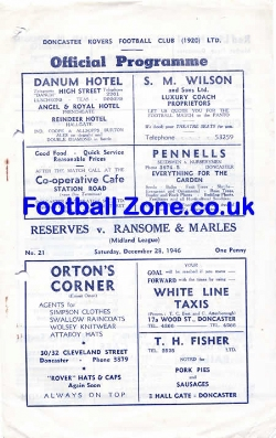 Doncaster Rovers v Ransome Marles 1946 - Reserves Match