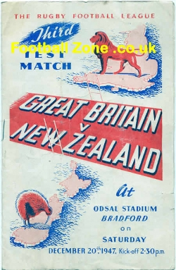Great Britain Rugby v New Zealand 1947 - Odsal stadium