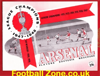 Arsenal Football Club Players Souvenir Brochure 1947 - 1948