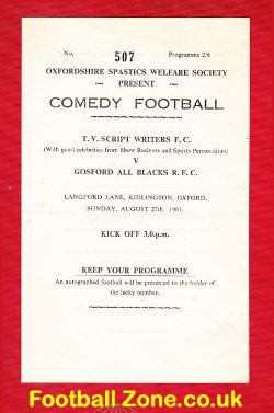 Gosford All Blacks Rugby v TV Script Writers 1961 Charity Oxford