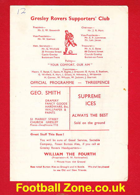 Gresley Rovers v Shirebrook 1952