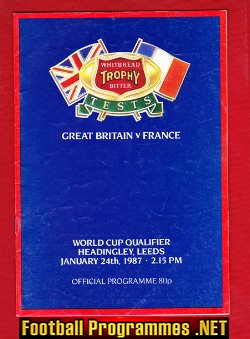 Great Britain Rugby v France 1987 - at Headingley Leeds