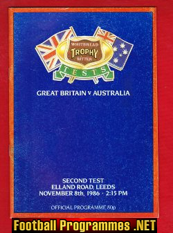 Great Britain Rugby v Australia 1986 - at Elland Road Leeds