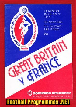 Great Britain Rugby v France 1983 - at The Boulevard Hull