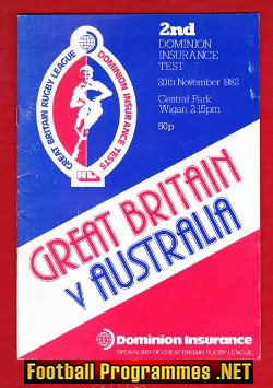 Great Britain Rugby v Australia 1982 - Central Park Wigan