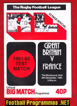 Great Britain Rugby v France 1981 - at The Boulevard Hull