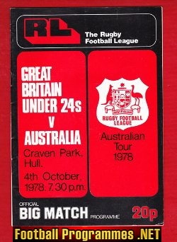 Great Britain Rugby v Australia 1978 - Under 24's at Hull