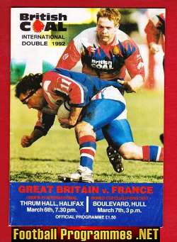 Great Britain Rugby v France 1992 - at The Boulevard Hull