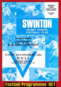 Swinton Rugby v Hull 1985 - Rugby Championship