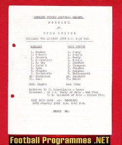 Mossley v Hyde United 1968 - Cheshire County League