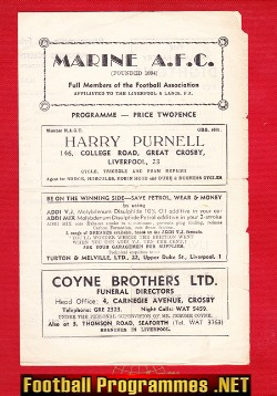 Marine Athletic v Chorley 1960 - Lancashire Combination League