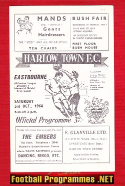 Harlow Town v Eastbourne 1964 - Memorial Shield