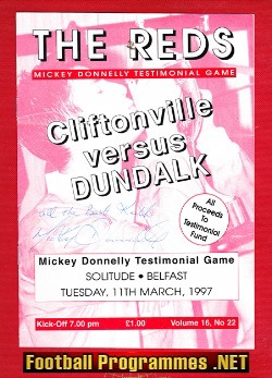 Mickey Donnelly Testimonial Benefit Cliftonville 1997 Signed