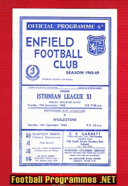 Enfield v Isthmian League X1 1968 - Friendly Match