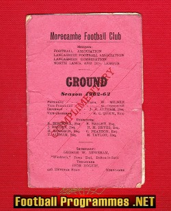 Morecambe Football Club Season Ticket Book 1962 - 1963 - Signed