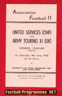 United Services v Army Touring X1 1945 - Naples Italy BUSBY