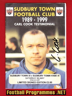 Carl Cook Testimonial Benefit Match Sudbury Town 1999 - Signed
