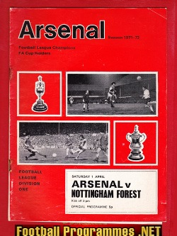 Arsenal v Nottingham Forest 1972