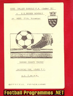 Ouse Valley v Sussex 1992 - U16 Schoolboys Match at Lewes FC