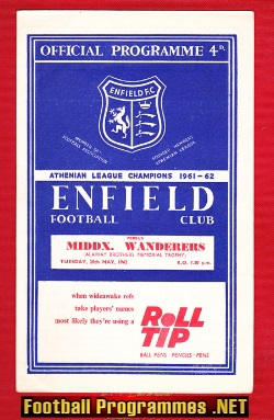 Enfield v Middlesex Wanderers 1963 - Memorial Trophy