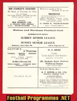 Surrey Senior League v Sussex 1967 - at Walton Hersham FC