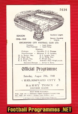 Chelmsford City v Barry Town 1948 - 1940s Programme