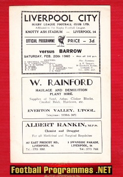 Liverpool City Rugby v Barrow 1960 - Knotty Ash Stadium