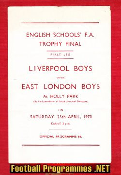 Liverpool Boys v East London Boys 1970 - English Schoolboys