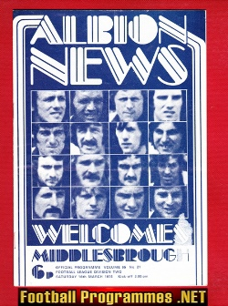 West Bromwich Albion v Middlesbrough 1974