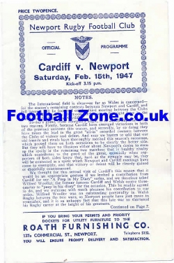 Cardiff Rugby v Newport 1947