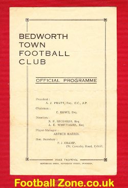 Bedworth Town v Hinckley Athletic 1947