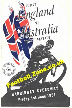 England Speedway v Australia 1951 - at Harringay