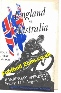 England Speedway v Australia 1948 - at Harringay