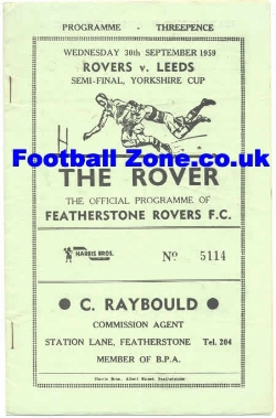 Featherstone Rovers Rugby v Leeds 1959 - Yorkshire Semi Final