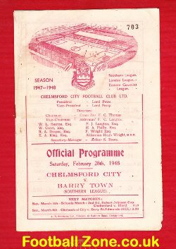 Chelmsford City v Barry Town 1948 - 1940s Football Programme