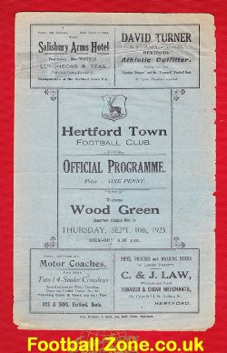 Hertford Town v Wood Green 1925 - Old 1920s Programme