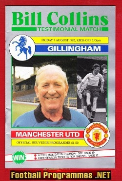 Bill Collins Testimonial Gillingham 1992 Benefit Match